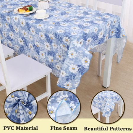 """Vinyl Blue Daisy Pattern Rectangle Tablecloth Water/Oil Stain Resistant 71""""x54"""" - image 2 of 5"""