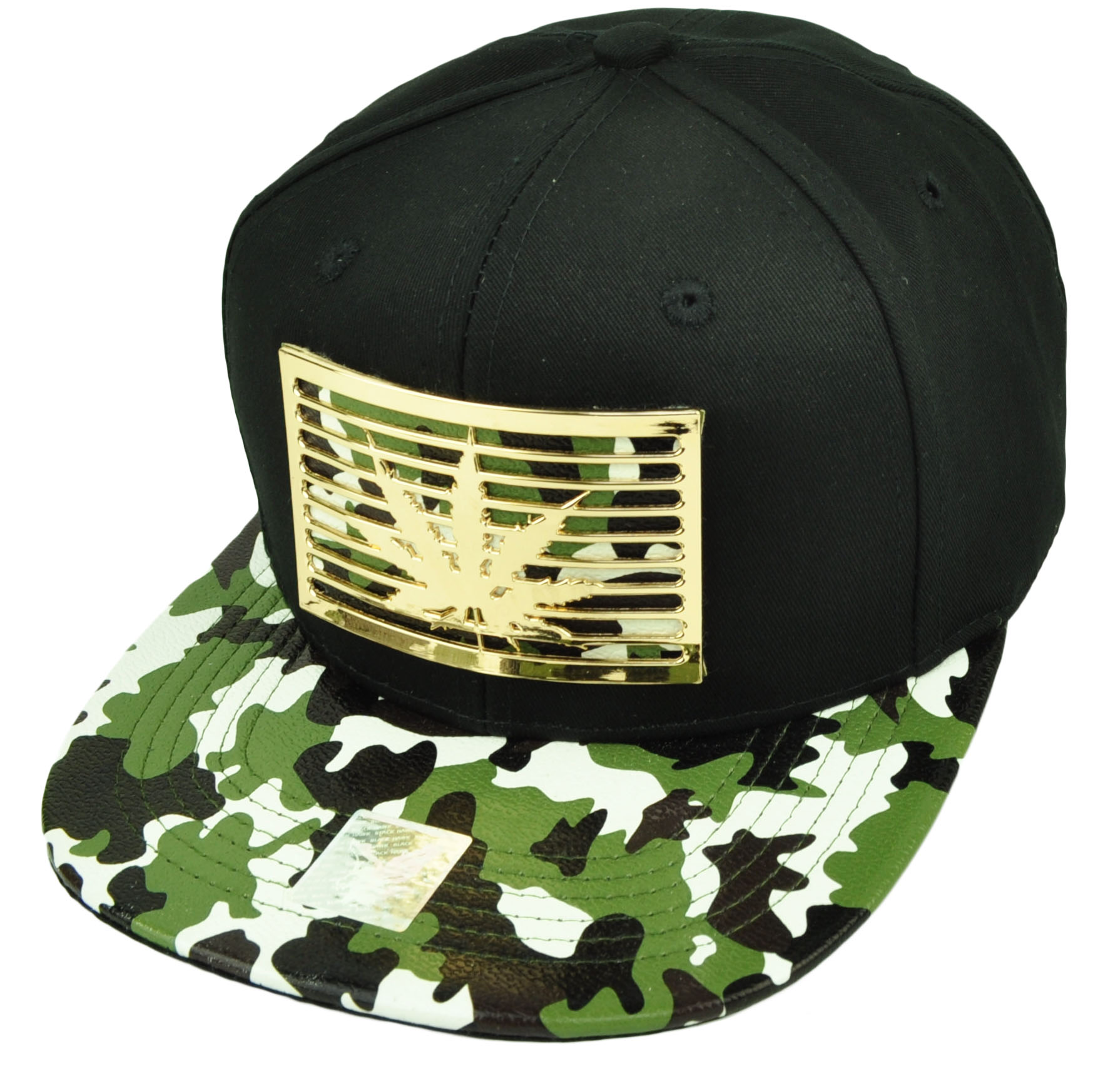 Marijuana Weed Metal Emblem Gold Camouflage Snapback Flat Bill Hat Cap Leaf High