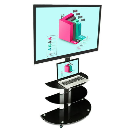 Mount-It! TV Cart Mobile TV Stand with Mount and AV Shelves 32 40 43 50 55 60 Inch TVs (MI-873) (Mobile Tv Mount)