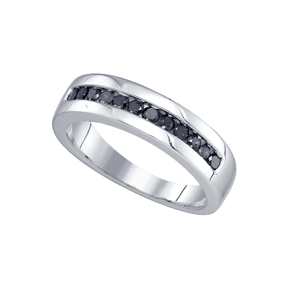 10kt White Gold Mens Round Black Colored Diamond Band Wed...