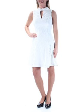 74dc4b55887 Product Image GUESS Womens Ivory Beaded Sleeveless Keyhole Above The Knee  Party Dress Size  2XS