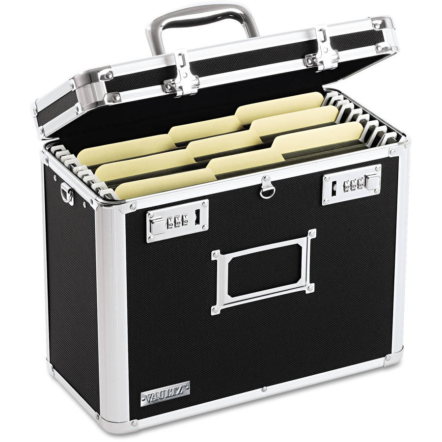Vaultz Locking File Tote Storage Box, Letter, Black