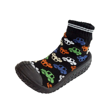 Infant Q Baby Boys Anti-slip Rubber First Walking Sock Shoes Car Automobile Pattern (Sock Monkey Baby Boy Clothes)
