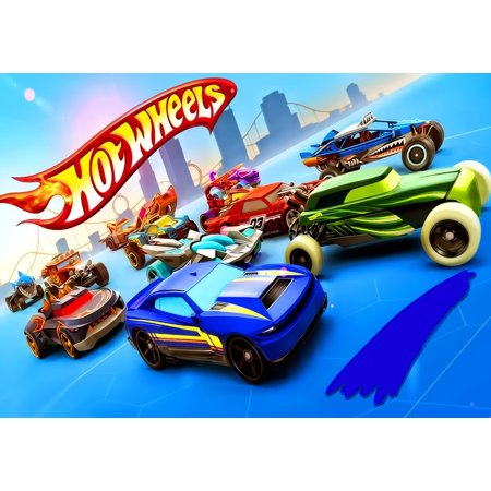 Hot Wheels Multi Race Cars  1/2 Size Frosting Sheet Cake Topper Edible Frosting  Image](Hot Wheels Birthday Cake)