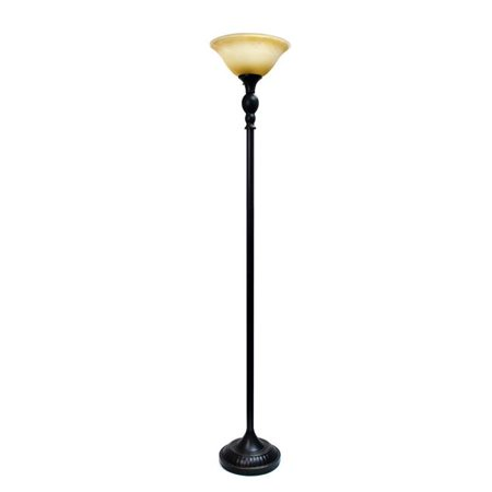 1 Light Torchiere Floor Lamp with Marbelized Amber Glass Shade - Restoration Bronze