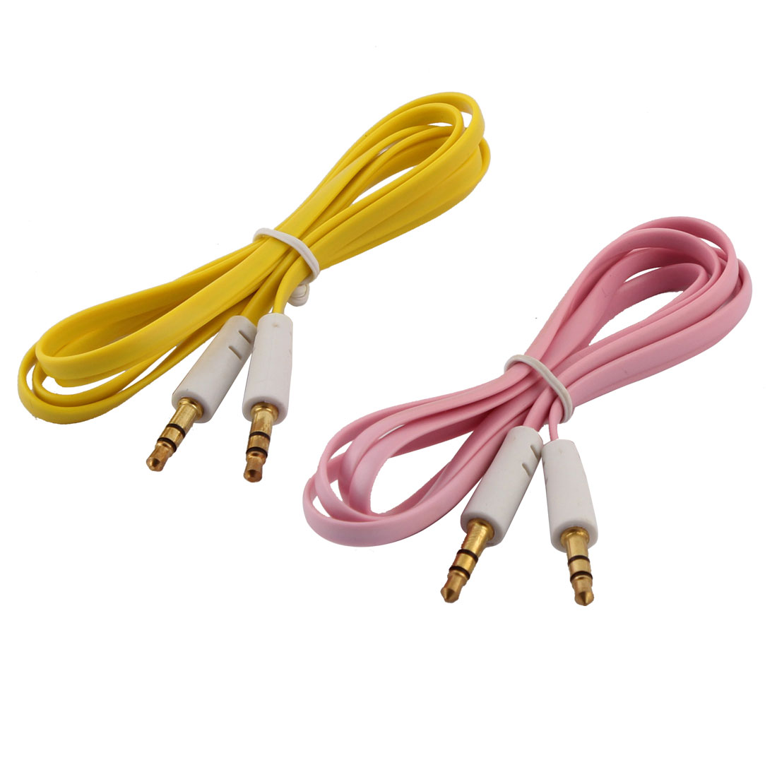 2pcs 3.3ft Plastic Noodle Shaped 3.5mm Male to Male Flat Audio Cable Yellow Pink