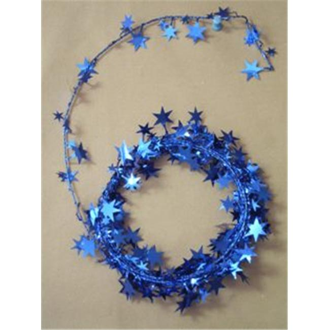 Party Deco 04905 25 ft.  Royal Blue Star Wire Garland - Pack of 12
