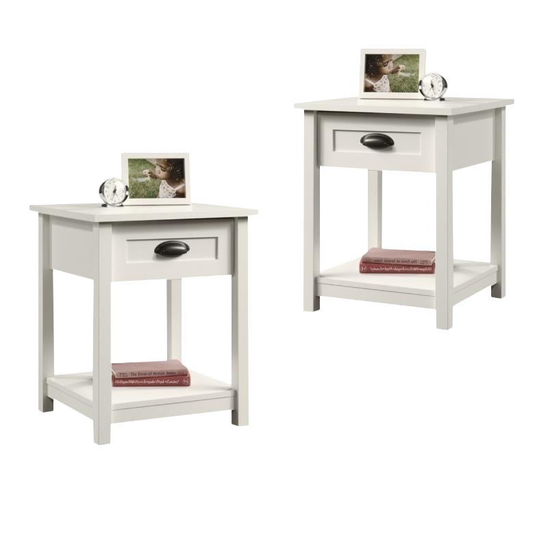 (Set of 2) Transitional Nightstand in Soft White