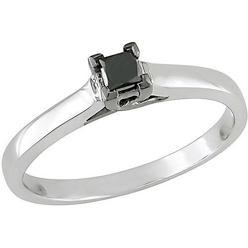 Sterling Silver 1/4 Carat Princess Cut Black Diamond Solitaire Ring (3.3mm)
