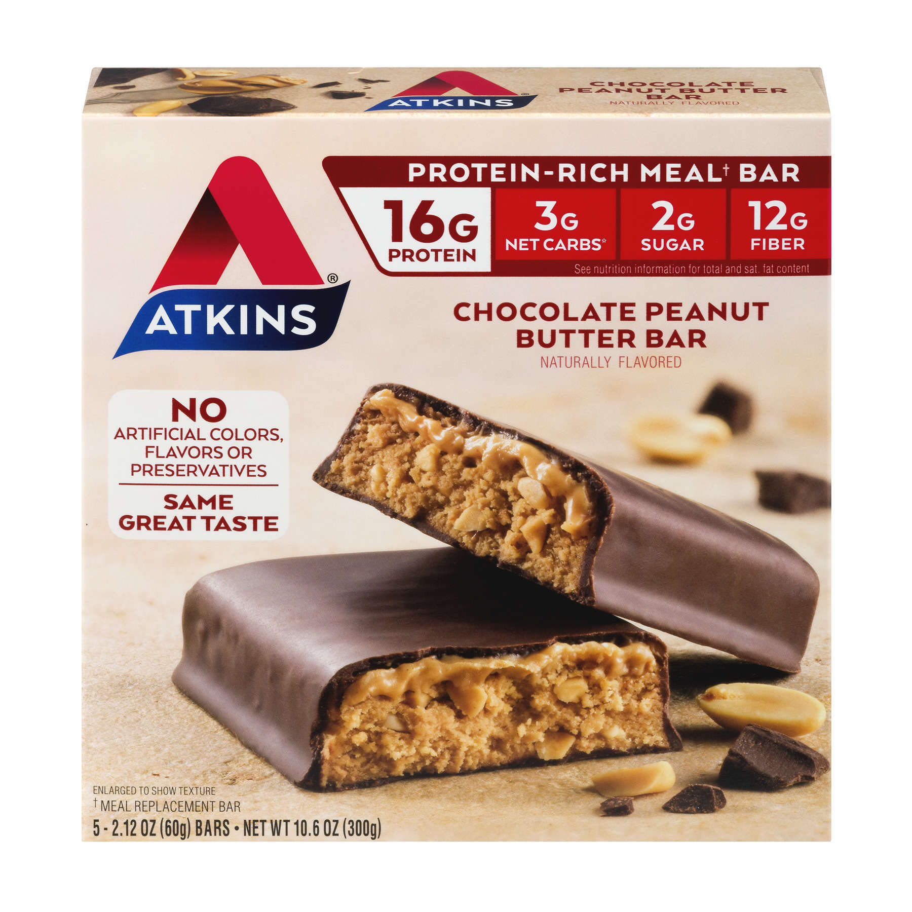 Atkins Chocolate Peanut Butter Bar, 2.1oz, 5-pack (Meal Replacement)