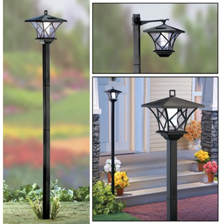 Solar 5 Ft Lantern Lamp Post Stake Light, Black