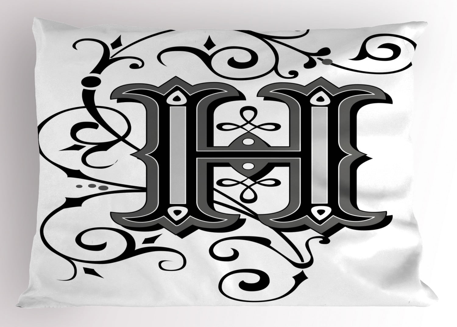 Letter H Pillow Sham Calligraphy Elements in Uppercase ...
