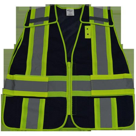 petra roc blvm-psv-reg 2 in. navy blue mesh & lime green contrast expandable 5 point breakaway vest silver reflective tapes 2 pockets mic-tabs, regular small & extra large Cool Mesh Breakaway Vest