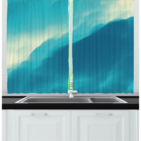 - Modern Curtains 2 Panels Set, Oil Artwork Cloud Wave Image with Ombre Seem Colored Contemporary Artwork Print, Window Drapes for Living Room Bedroom, 55W X 39L Inches, Blue and White, by Ambesonne