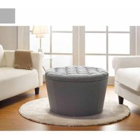Better Homes and Gardens Round Tufted Storage Ottoman with Nailheads, Gray