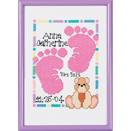Special Moments Baby Footprints Mini 14-Count Cross-Stitch Kit, Magenta Frame (Framing Framed Cross Stitch)