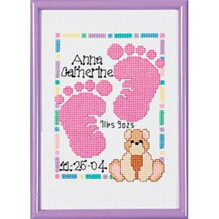 Special Moments Baby Footprints Mini 14-Count Cross-Stitch Kit, Magenta (Cross Stitch Mini)
