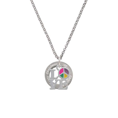 c3e68da3b Delight Jewelry - Love with Multicolored Peace Sign Merry Christmas ...
