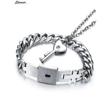 Spencer Titanium Steel Women Chain Bracelets Lover Concentric Lock Key Pendant Jewelry Set for Couple Anniversary Gifts](Lock And Key Jewelry For Couples)