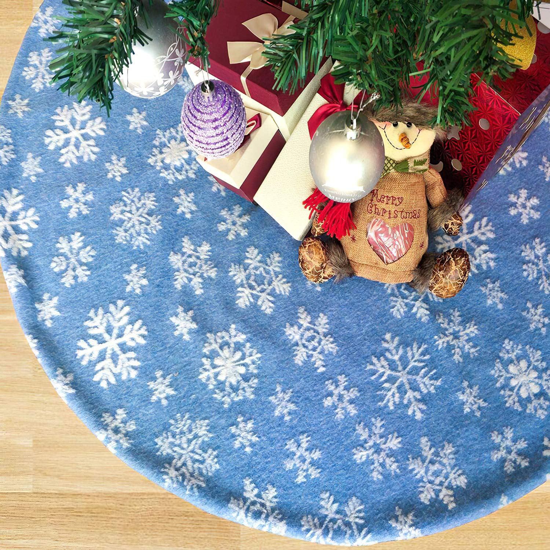 Blue Christmas Tree Skirt Xmas Tree Skirt With White Snowflakes For Christmas Holidays Decoration Walmart Com Walmart Com