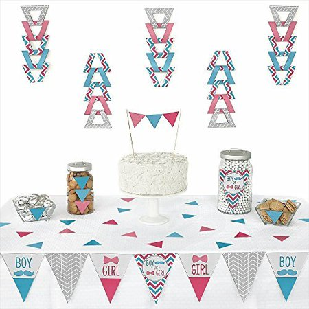 Chevron Gender Reveal - Triangle Party Decoration Kit - 72 Pieces (Gender Reveal Decorations)