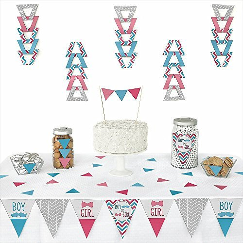 Chevron Gender Reveal - Triangle Party Decoration Kit - 72 Pieces