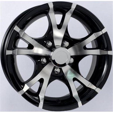 Americana AMW-22649BM 15 x 6 V-Spoke Aluminum Trailer Wheel Rim 5 Lug on 4.5 in., Black