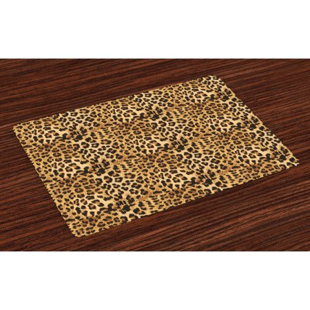 Brown Placemats Set of 4 Leopard Print Animal Skin Digital Printed Wild African Safari Themed Spotted Pattern Art, Washable Fabric Place Mats for Dining Room Kitchen Table Decor,Brown, by Ambesonne for $<!---->