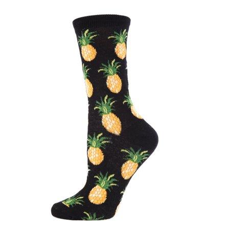 Bamboo Pineapple (MeMoi Pineapple Fruit Bamboo Crew Novelty Socks One Size / Black MWN00121 )