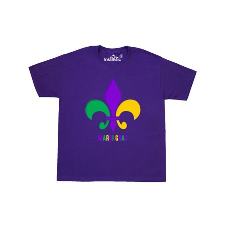 Rhinestone Fleur De Lis Tee - Mardi Gras Fleur De Lis Youth T-Shirt