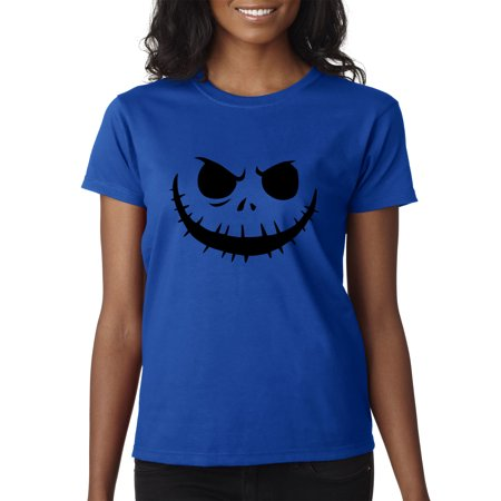 Trendy USA 971 - Women's T-Shirt Jack Skellington Pumpkin Face Scary Large Royal Blue - Purple Pumpkin