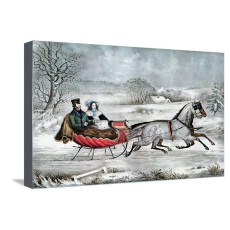 The Road - Winter (Currier and His 2nd Wife, Laura Ormsbee, 1843) Stretched Canvas Print Wall Art By Currier &
