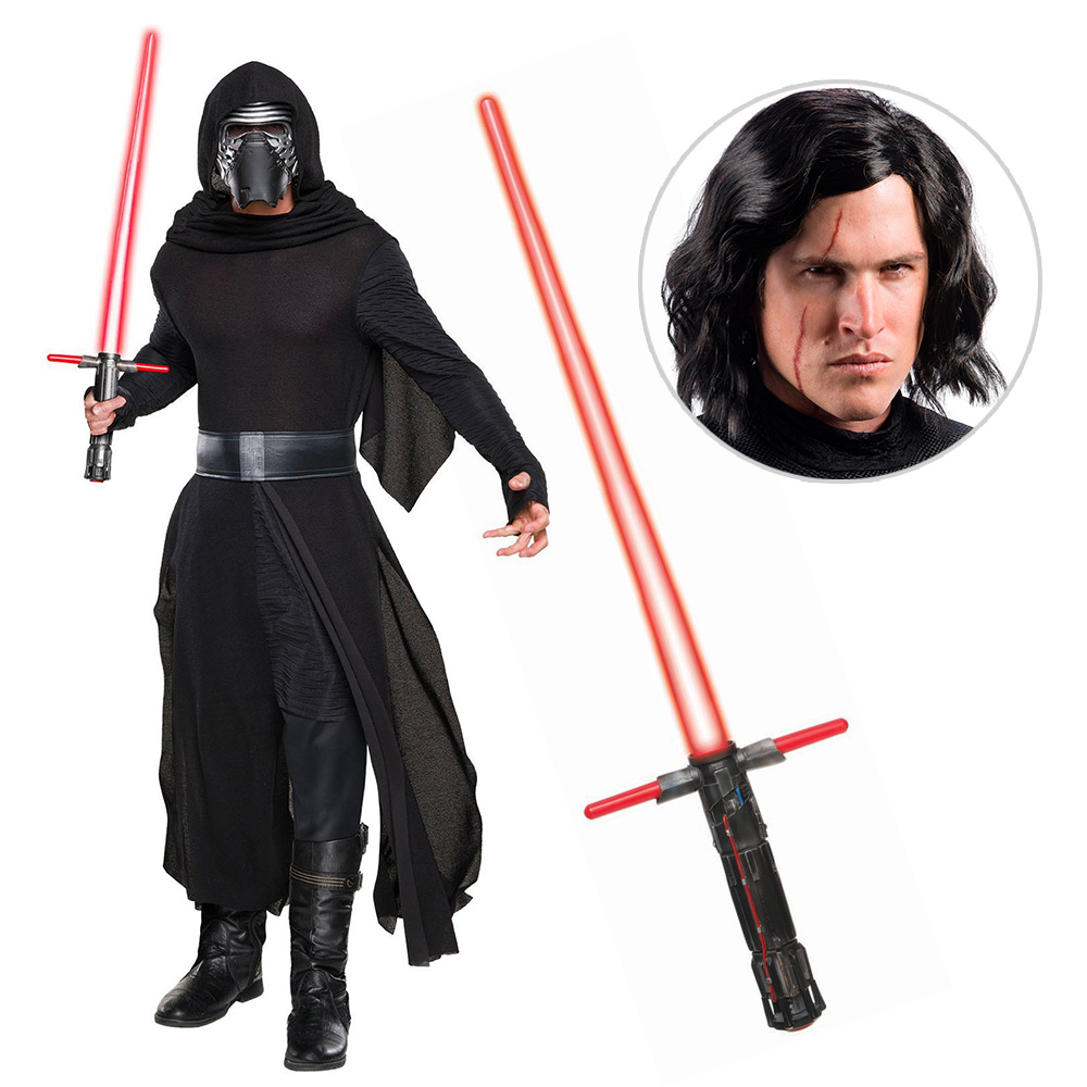 Star Wars Episode VIII: The Last Jedi - Kylo Ren Classic Adult Costume with Wig and Lightsaber - Size X-LARGE