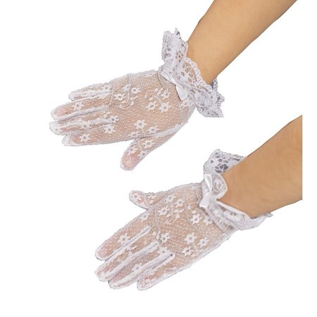 Girls White Lace Bow Accented Communion Flower Girl Gloves (Girls Elite Glove)