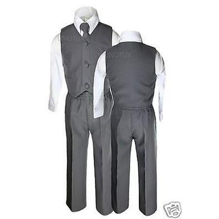 Baby Boys Toddler Wedding Formal Party Vest Set Dark  Gray Grey Suits S-14 - Boys Grey Suit