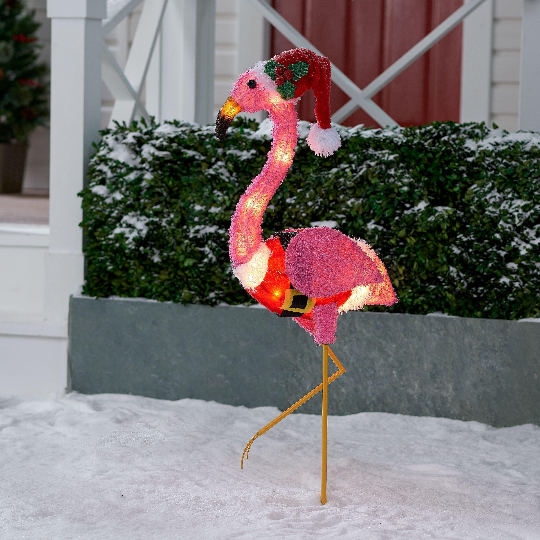 Pink Fluffy Flamingo 2018 Holiday Time Light-Up Fluffy Flamingo