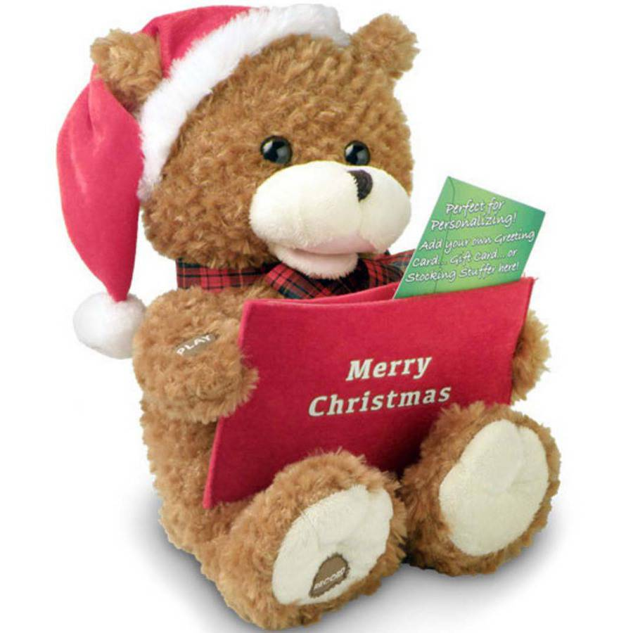 Chantilly Lane Record-A-Voice Christmas Bear, We Wish You A Merry Christmas, Brown