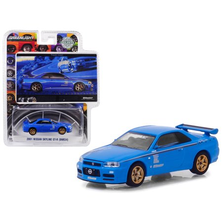 "2001 Nissan Skyline GT-R (BNR34) Blue Track Meat"" BFGoodrich Vintage Ad Cars Hobby Exclusive 1/64 Diecast Model Car by Greenlight"""