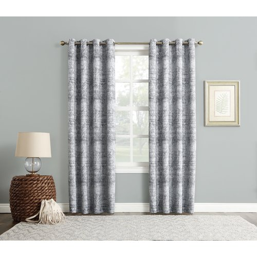 Sun Zero Darren Distressed Damask Max Blackout Thermal Grommet Single Curtain Panel