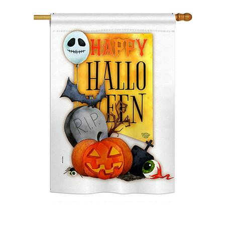 Happy Halloween Spirit Fall - Seasonal Impressions Decorative Vertical House Flag - Printed in USA - Spirit Halloween Hours Nyc