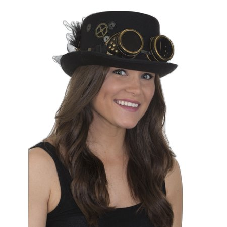 Cheap Steampunk Accessories (Victorian Deluxe Steampunk Top Hat Goggles Gears Feathers Costume)
