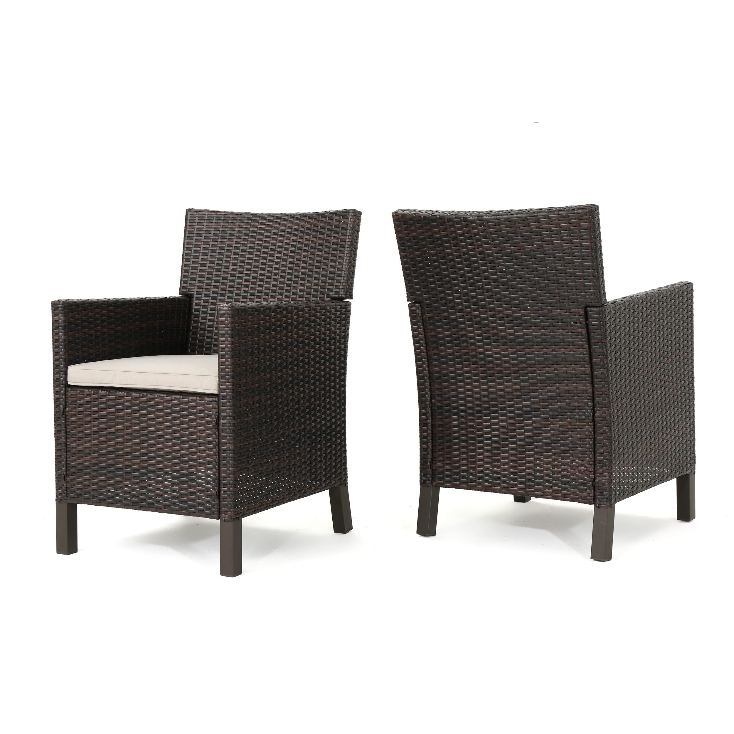 Cyrus Outdoor Wicker Dining Chairs with Water Resistant Cushions, Set of 2, Multibrown and Light Brown