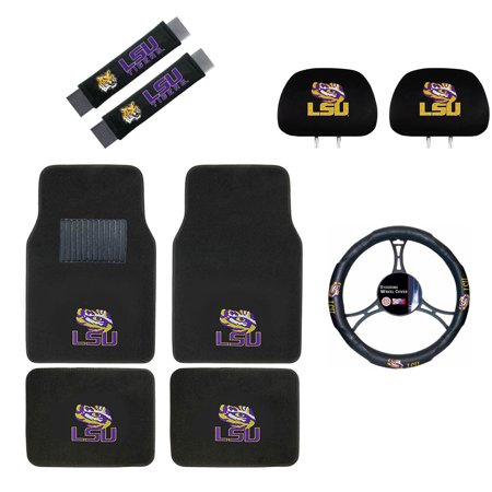 (Louisiana State University Tigers Floor Mat, Headrest Wheel Cover and Shoulder Pads Gift Set)