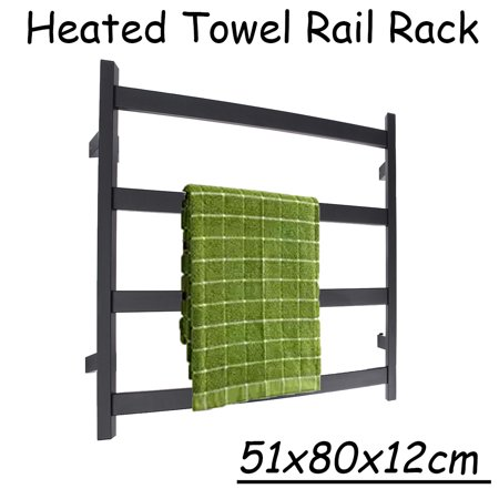 Aimeeli Electric Towel 4 Bar Warmer Heated Dry Rail Rack Black Matte Bathroom Wall Mount