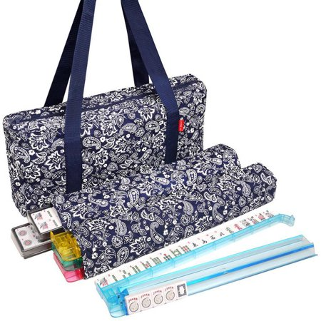 Soft-Sided American Mah Jongg Set by Linda Li with White Tiles and Modern Pushers, Blue Paisley Soft -