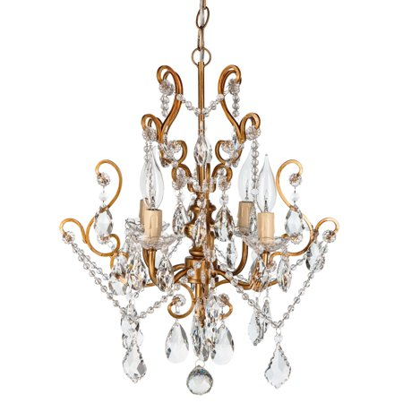 Amalfi Décor 4 Light Vintage Crystal Plug-In Chandelier (Gold) | Wrought Iron Frame with Glass Crystals