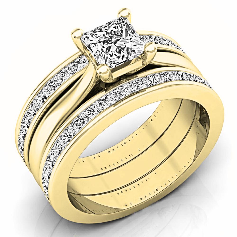 2.05 Carat (ctw) 18K Yellow Gold Princess Cut White Diamond Ladies Bridal Engagement Ring Matching Band Set 2 CT