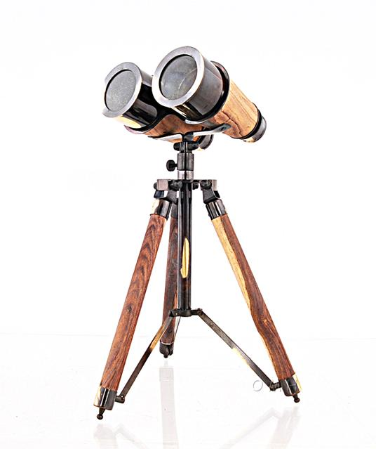 Wood Brass Binocular On Stand by Old Modern Handicrafts