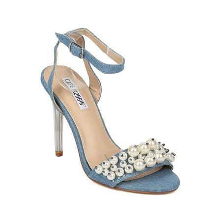 Women Lucite Stiletto Sandal - Faux Pearl Sandal - Ankle Strap Stiletto - HK25 By Cape (Pearl Stiletto)