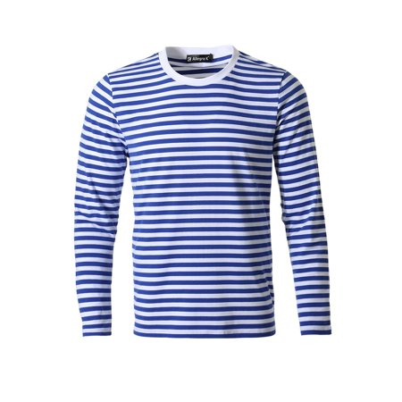 Allegra K Homme Encolure Torsadée Manches Longues Motif Rayé T-shirt - image 2 de 7